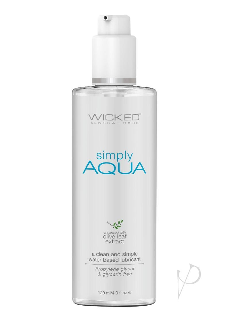 Wicked Simply Aqua Water Based Lubricant With Olive Leaf Extract 4oz