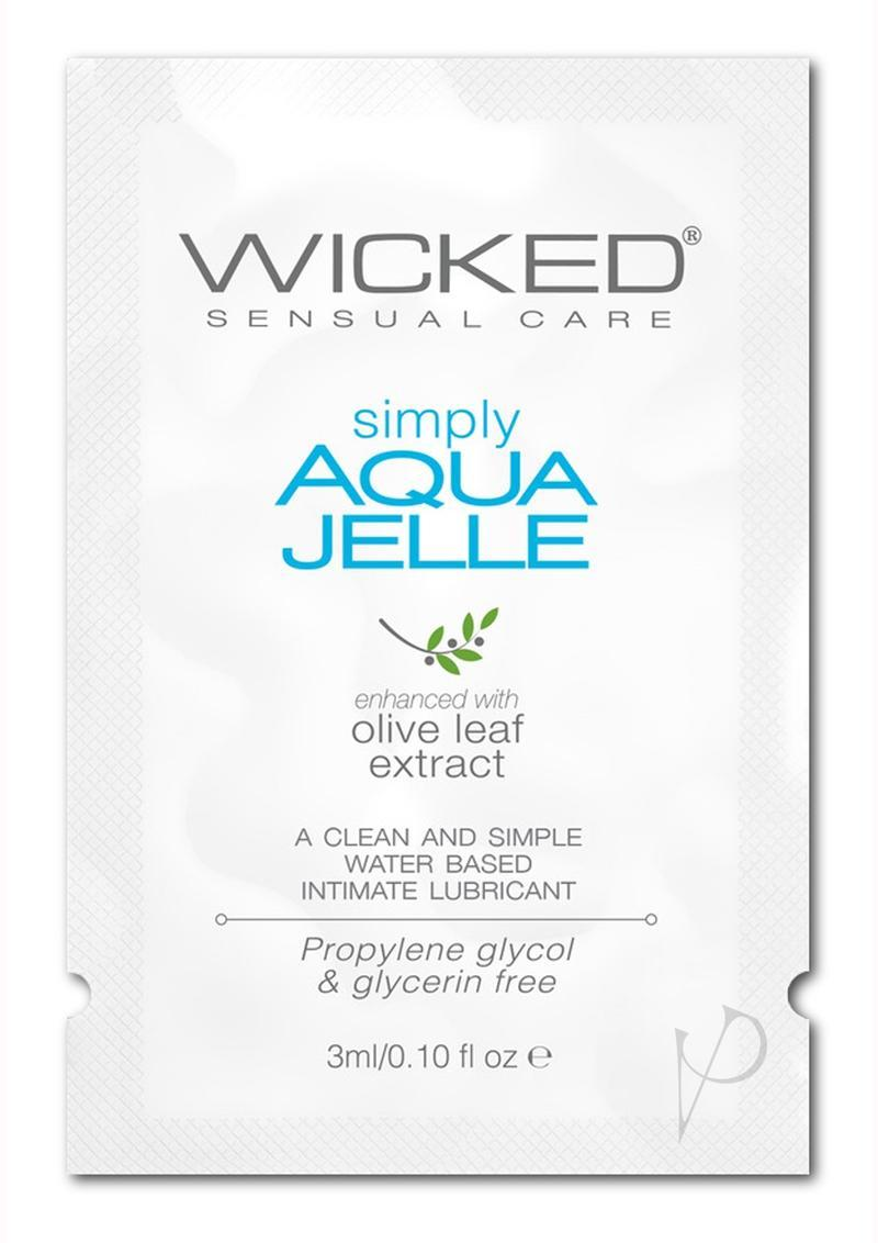 Wicked Simply Aqua Jelle Water Based Lubricant With Olive Leaf Extract .10oz (144 Per Bag)